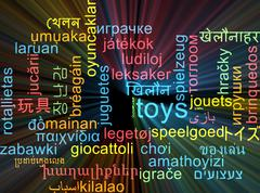 Stock Illustration of Toys multilanguage wordcloud background concept glowing