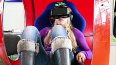 Girl uses virtual reality game development kit. Stock Footage