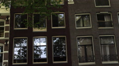 Shot of old building facades in Amsterdam Stock Footage