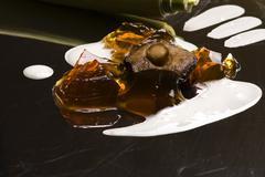 Molecular gastronomy - mushroom soup - stock photo