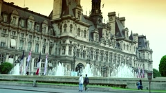 ULTRA HD 4K real time shot,The  Hotel de Ville in Paris Stock Footage