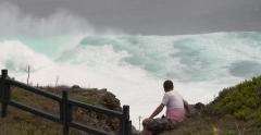 Huge Waves Crash Into Island As Powerful Hurricane Approaches - stock footage