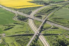 German federal highways 4 and 71 Erfurter Kreuz interchange ICE highspeed - stock photo