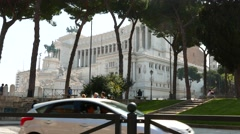 The famous Monumento a Vittorio Emanuele in Rome Stock Footage