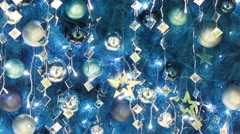 Blue tone christmas decorations Stock Footage