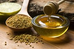 Stock Photo of Fresh honey and bee pollen