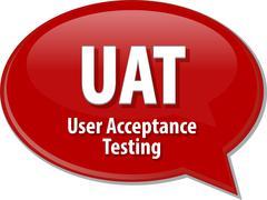 UAT acronym definition speech bubble illustration Stock Illustration