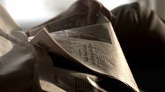 Close up of newspaper. Stock Footage