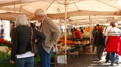Campo Di Fiori market in Rome Stock Footage