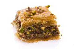 Baklava. Traditional middle east sweet desert isolated on the white Stock Photos
