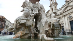 The Fountain of the Four Rivers in Rome Stock Footage