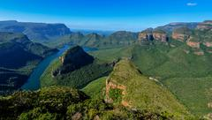 Blyde River Canyon and The Three Rondavels - stock photo