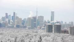 Toronto Snow Skyline Stock Footage