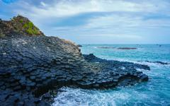 At the famous Giant's Causeway - stock photo
