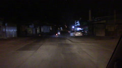 3957 Driving Down Street at Night in Nicaragua, HD Stock Footage