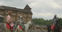Three Actors as Vladimir The Great,Prince Vladimir and Two Warriors, Soldiers Stock Footage