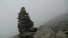 Stone Cairn Foggy Mountain Stock Footage