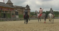 Three Actors as Vladimir The Great, Prince Vladimir and Two Warriors, Soldiers Stock Footage