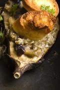 Baked stuffed eggplant - stock photo