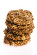 oat cakes on a white background - stock photo