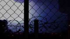 Visualization of a car and white barbed wire. Stock Footage