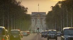 Buckingham Palace Pall Mall traffic - stock footage