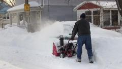 Snowstorm clean up removal, snow blower, sound Stock Footage
