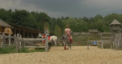 Riders on a Horses Men Woman Actors in Ancient Costumes as Warriors and Prince Stock Footage