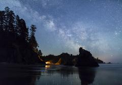 Milky Way over Ruby Beach Campfire - stock photo