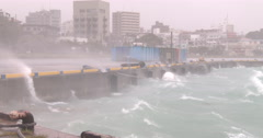 Strong Hurricane Wind And Waves Batter Port - stock footage