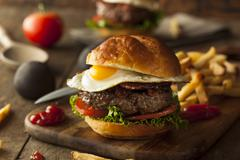 Homemmade Bacon Hamburger with Egg - stock photo