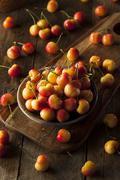 Healthy Organic Rainier Cherries Stock Photos