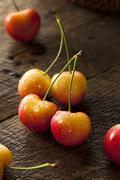 Healthy Organic Rainier Cherries - stock photo