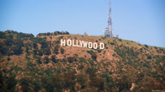 Long distance static shot of the Hollywood sign - stock footage