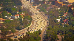 A view of the freeway from Mulholland Drive Stock Footage