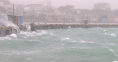 Stock Video Footage of Fierce Hurricane Wind And Waves Lash Port Waterfront