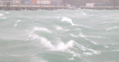 Strong Wind Churns Up Waves In Harbor During Hurricane Stock Footage