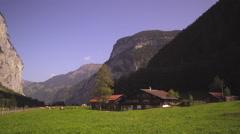 Swiss farm in Lauterbrunnen Valley Stock Footage