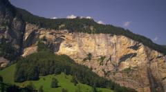 Panoramic view of Staubbach falls and Spissbach falls of the Lauterbrunnen Stock Footage