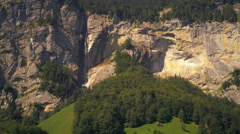 Panoramic view of Lauterbrunnen valley and Staubbach Falls Stock Footage