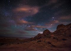 Beautiful Night Starry sky with Rising Milky Way over the Valley of Fire Stat - stock photo