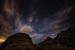 Stock Photo of Beautiful Night Starry sky with Rising Milky Way over the Valley of Fire Stat