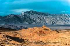 Stock Photo of Rainbow Vista Valley of fire Nevada with the Mountain Ridge in the background