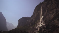 Static shot of a staubbach falls from Lauterbrunnen Valley Stock Footage