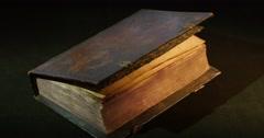 Closed Old Book Cover Paterik of Kiev-Pecherska Lavra Old-Slavic Writing - stock footage