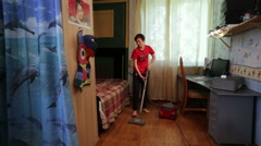 Teenager Apartment Cleaning Cleaner Stock Footage