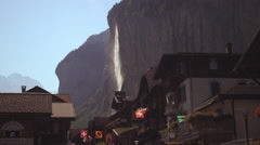 Static shot of a waterfall from Lauterbrunnen Stock Footage