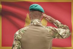 Dark-skinned soldier in hat facing national flag series - Montenegro Stock Photos