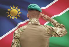 Dark-skinned soldier in hat facing national flag series - Namibia Stock Photos