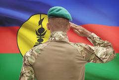 Dark-skinned soldier in hat facing national flag series - New Caledonia - stock photo